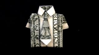 getlinkyoutube.com-Dollar Origami Shirt & Tie Tutorial - How to fold a dollar bill in to a shirt and tie