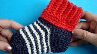 getlinkyoutube.com-Как вязать носки крючком? Мастер класс How to croсhet soсks
