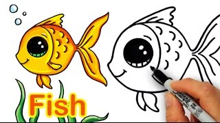 getlinkyoutube.com-How to Draw a Cartoon Fish Cute and Easy