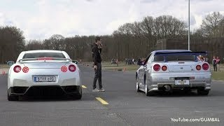 getlinkyoutube.com-Nissan Skyline GT R34 Mines Stage 2 +++ vs Nissan GT-R Switzer P800