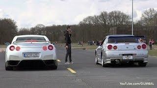 getlinkyoutube.com-Nissan Skyline GT R34 Mines Stage 2 +++ vs Nissan GT-R Switzer P800