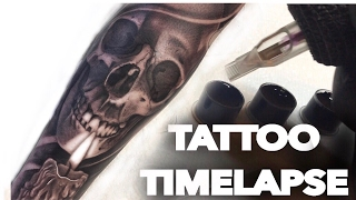 getlinkyoutube.com-TATTOO TIME LAPSE / SKULL AND CANDLE / CHRISSY LEE