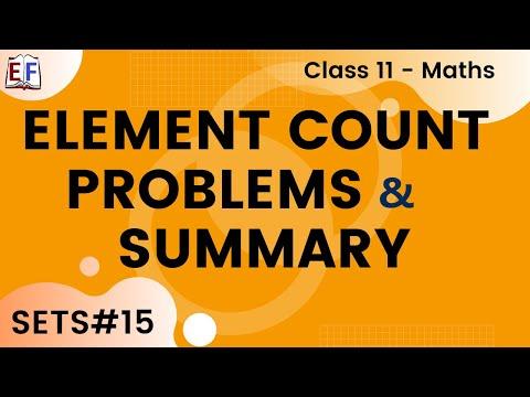 Maths Sets Mathematics CBSE Class X1 Part 15 (Element count problems and Summary)
