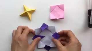 getlinkyoutube.com-【折り紙】3枚の折り紙で作る!花コマ