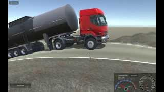 getlinkyoutube.com-Unity Realistic Vehicle Physics - Renault Premium Hauling Heavy Trailers