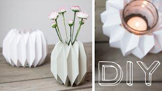 getlinkyoutube.com-DIY - geometrische Vase & Windlicht im Origamidesign falten