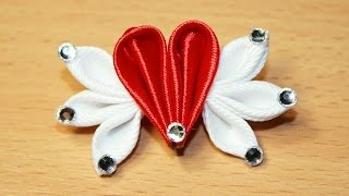 getlinkyoutube.com-Мини Валентинка Канзаши Мастер Класс / DIY Kanzashi Valentine