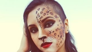 getlinkyoutube.com-#5 Leopard girl / maquillaje de leopardo / Halloween