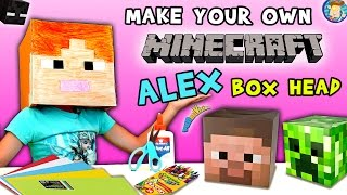 HOW-TO Make a MINECRAFT ALEX Box Head!  (FUNnel Vision DIY Cosplay Tutorial w/ Lexi) ✂