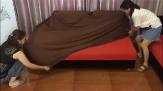 How to install universal sofa cover on L shaped sofa width=