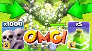 getlinkyoutube.com-Clash Of Clans - 1000 SKELETONS + ALL JUMP SPELLS! - CRAZY GAME PLAY!