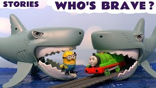 getlinkyoutube.com-Thomas and Friends Toy Trains with Sharks & Minions & Surprise Eggs Who's Brave Compilation TT4U