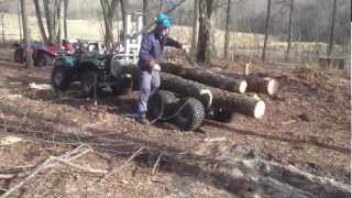 getlinkyoutube.com-ATV Loading timber with remote-controlled hydraulic winch