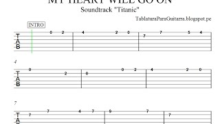 My Heart Will Go On (Titanic) Version 2 - Tablatura para Guitarra