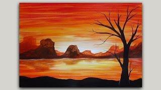 getlinkyoutube.com-Acrylic Painting Volcano Island at Sunset and Tree Silhouette Painting