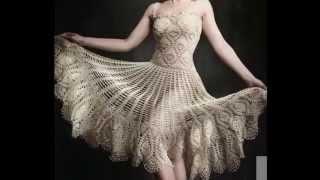 getlinkyoutube.com-Vestido Motivos Piñas Tejido a Crochet