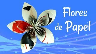 getlinkyoutube.com-Reciclaje: Flores hechas con revistas. Recycling: How to make flowers with magazines