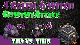 "getlinkyoutube.com-Clash of Clans - TH9 vs TH10 | 4 Golem 6 Witch 2 Jump Spell GoWiWi Clan Wars Attack ""99% Fail"""