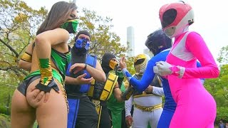 POWER RANGERS VS MORTAL KOMBAT! EPIC FLASH MOB BATTLE IN NYC! Part 2! it's morphin time!