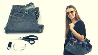 getlinkyoutube.com-Cómo hacer un bolso con un jean