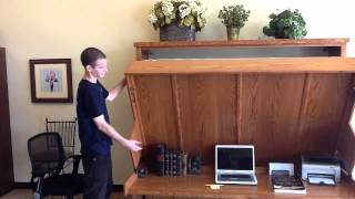 getlinkyoutube.com-Disappearing Desk Bed -  Wilding Wallbeds
