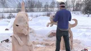 getlinkyoutube.com-Siberian Husky Bench Carved By Jordan Anderson