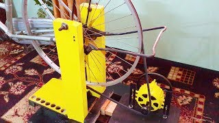 getlinkyoutube.com-Free energy generator homemade 220v attached to bicycle.DIY free electricity generator