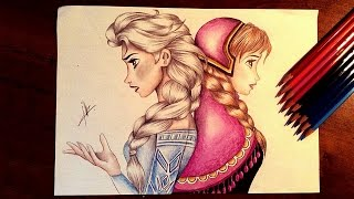 getlinkyoutube.com-Frozen drawing Elsa and Anna