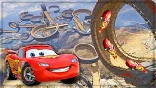 getlinkyoutube.com-Disney Cars Lightning McQueen VS Worlds Biggest Ramp & Loops Stunt Challenge! #3 (GTA 5 Mods)