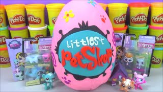 getlinkyoutube.com-Giant Littlest Pet Shop LPS Surprise Egg Play Doh Filled with Cool toys from Minecraft MLP and More