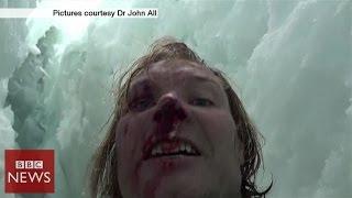 getlinkyoutube.com-Climber films 20m crevasse fall in Himalayas - BBC News