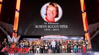 """getlinkyoutube.com-The entire WWE roster honors WWE Hall of Famer """"Rowdy"""" Roddy Piper: Raw, Aug. 3, 2015"""