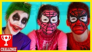 getlinkyoutube.com-FACE PAINT CHALLENGE! Spiderman & Spidergirl vs Joker! Fart! Superheros in Real Life |  KITTIESMAMA