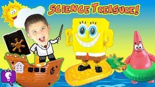 getlinkyoutube.com-SpongeBob Hidden TREASURE Chest! HobbyScience Lab SINK or FLOAT? Family Fun HobbyKidsTV