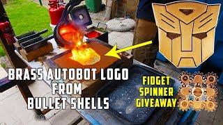 Casting Brass Transformers Autobots Logo + Fidget Spinner Giveaway ! width=