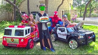 getlinkyoutube.com-Little Heroes 9 - The Police Car, The Stealer, The Fire Engine and Spiderman