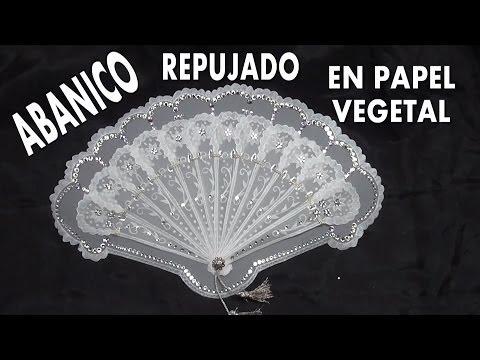 DIY ABANICO REGALO PARA COMUNION EN PAPEL VEGETAL - FAN EMBOSSED GREASEPROOF