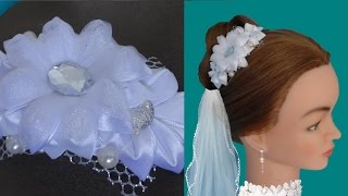 Свадебная заколка для волос своими руками. Канзаши.