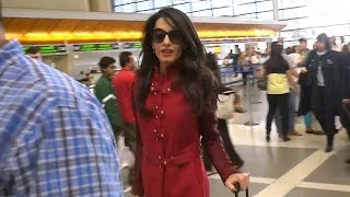getlinkyoutube.com-Amal Clooney In Red Leather At LAX