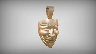 "getlinkyoutube.com-Подвеска - ""Маска Гая Фокса"". Pendant - ""The Mask of Guy Fawkes"". Blender 3D. Time lapse."