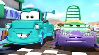 getlinkyoutube.com-Disney Cars Fast as Lightning: Wingo vs Mater, Luigi, Guido, Sheriff, Miguel, Carla, Shu and DJ