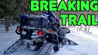 getlinkyoutube.com-Outlander Grizzly & Mudpro ATV's Track Into Cubbee Falls Through Deep Snow