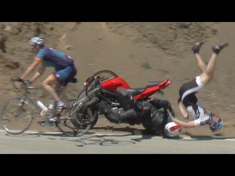 Crazy Crash: Motorcycle vs Bicycle
