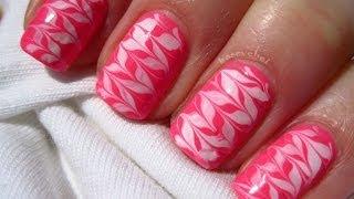 getlinkyoutube.com-Neon pink and white - no water marble - nail art - Neonowe mazance na paznokciach - Basevehei
