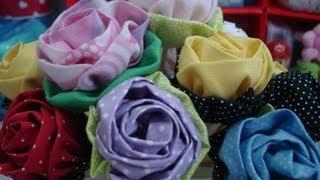 getlinkyoutube.com-Rosa de tecido - Artesanato / passo a passo / tutorial / diy