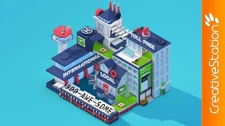 getlinkyoutube.com-Isometric Low Poly City - 3D animation (#Cinema4D) | CreativeStation