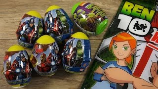 getlinkyoutube.com-Marvel's The Avengers Nutella & Toy SURPRISE EGGS Ben10 Party Bag