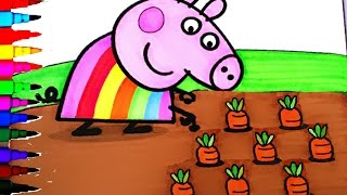 getlinkyoutube.com-Peppa Pig Coloring Book Pages Kids Fun Art Activities Rainbow Learning Videos For Kids