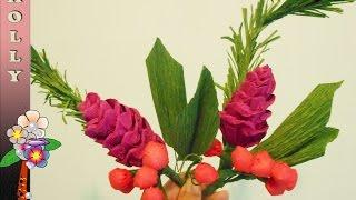 getlinkyoutube.com-Paper Flower Tutorial Easy : Crepe Paper Pinecone and Berries