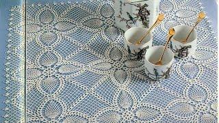 getlinkyoutube.com-Gráficos para tejer mantel con motivos piñas a crochet